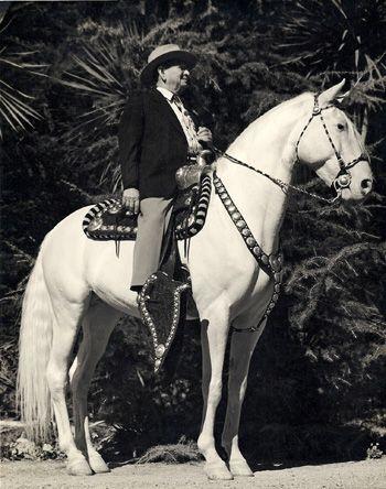 Adolfo Camarillo with the original Camarillo White Horse, Sultan.
