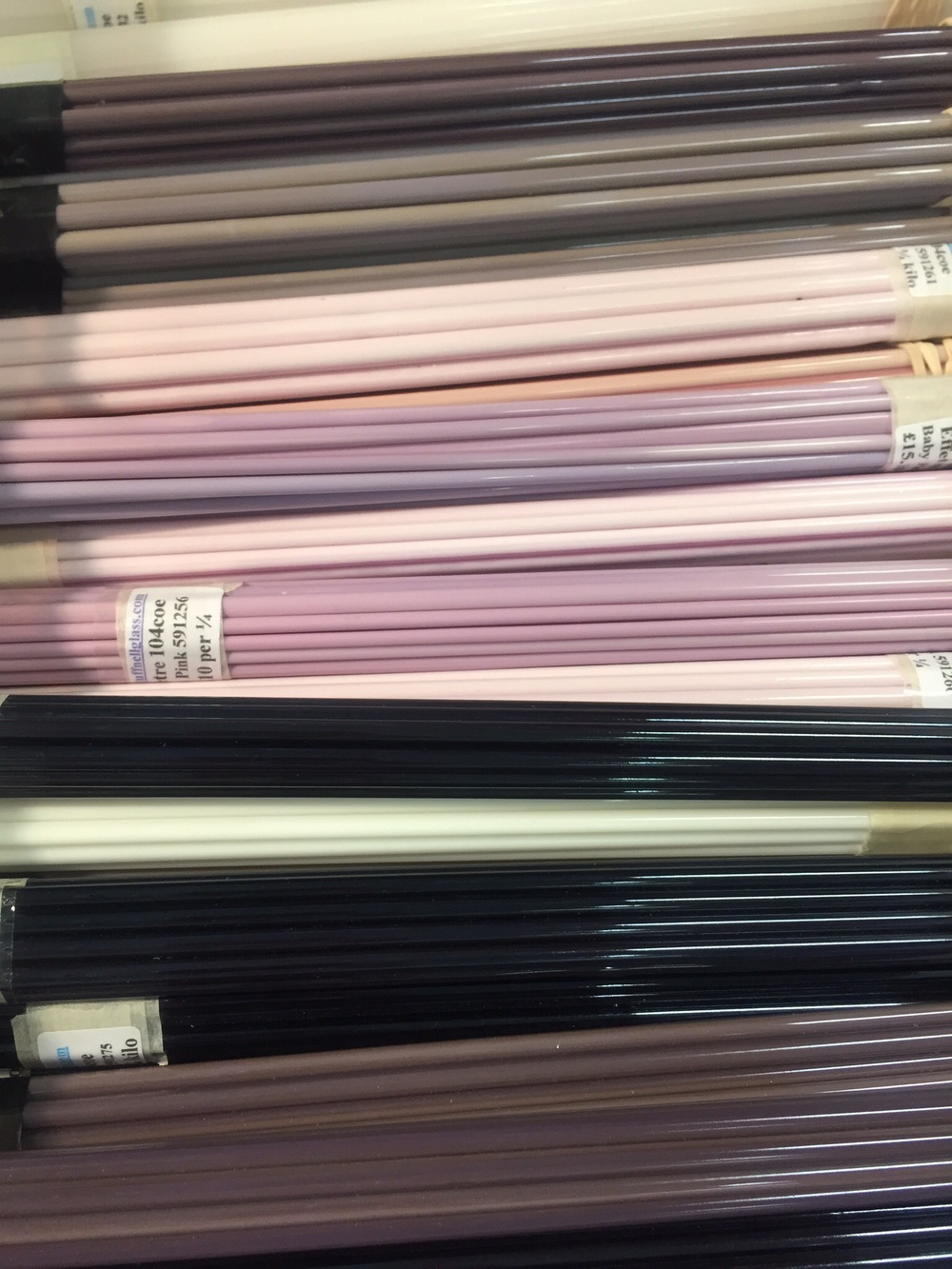 Purple and grey Effetre glass rods