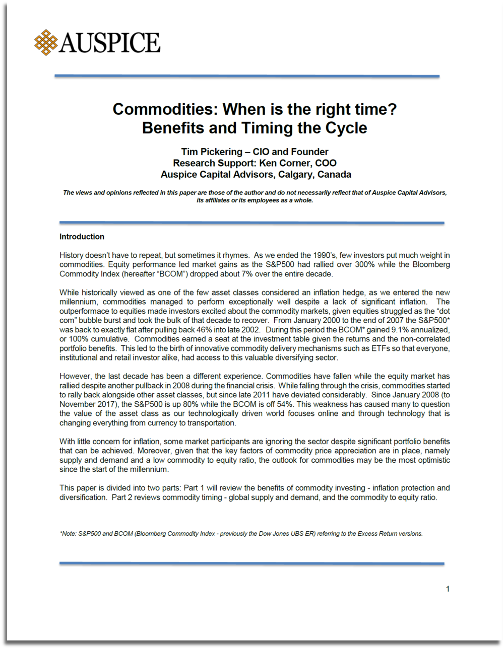 Commodities Update ending 2018: When is the right time? Benefits and Timing the Cycle
