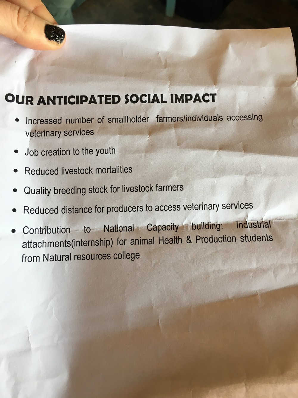 Grace's list of social impact goals are turned into measurable data points that can be tracked efficiently as part of her daily operating procedures. This information will be used to attract funders, report to her community, and direct her operations to optimize the positive impact on her stakeholders and the environment.