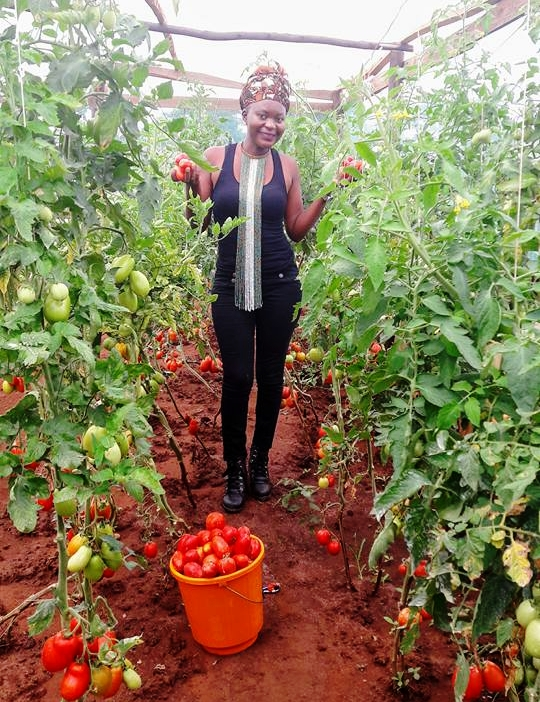 Mphatso poses with her tomato crop.