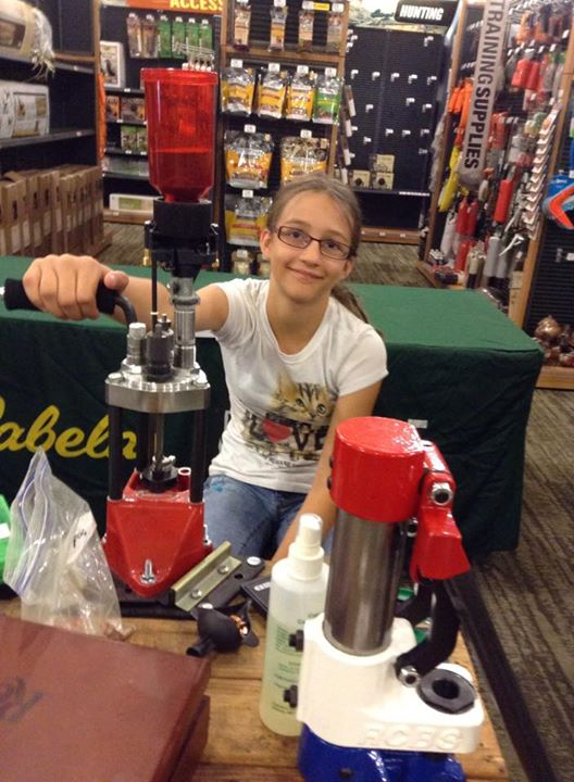 David Sherman My Granddaughter at a reloading demo we did at a Cabela's store. She ran the machine and I did the talking.