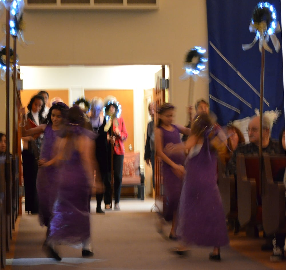 Acolytes in a blur of motion