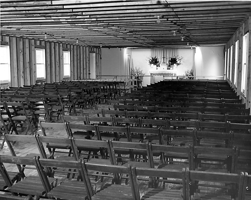 Interior of temporary church