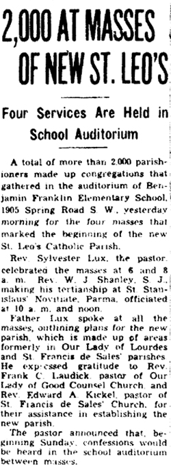 Newspaper article about first Masses held for the new parish