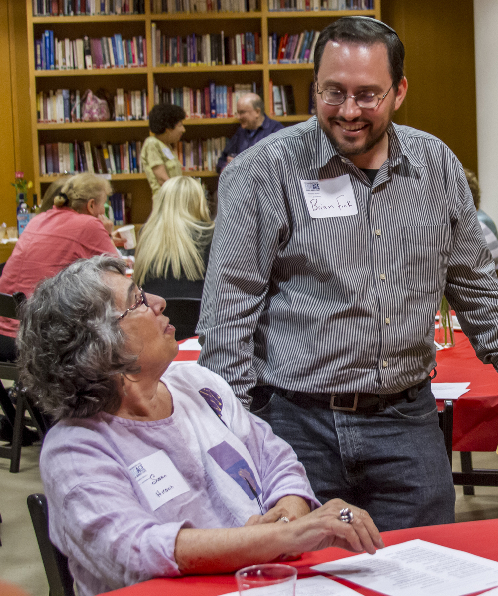 Rabbi Brian Fink, with Engage volunteer Susie Hirsch at JCC Manhattan.