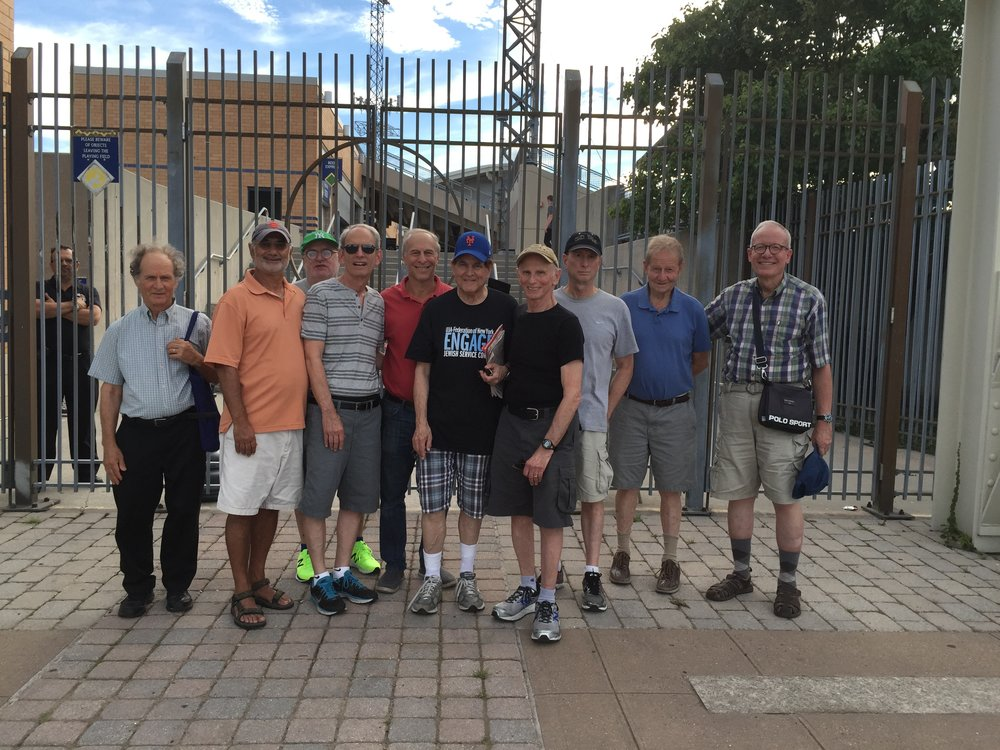 The Engage Men's Group at the Staten Island Yankees game.  Left to right: Sammy Henig, Sam Bliman, Bob Grossweinger, Fred Endelman, Lee Rimsky, Stu Lahn, Sy Sadinoff, Paul Greenfield and Bernie Zweig.