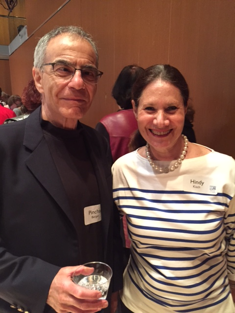 Pinchas Berger and Hindy Kisch enjoy the volunteer recognition event.