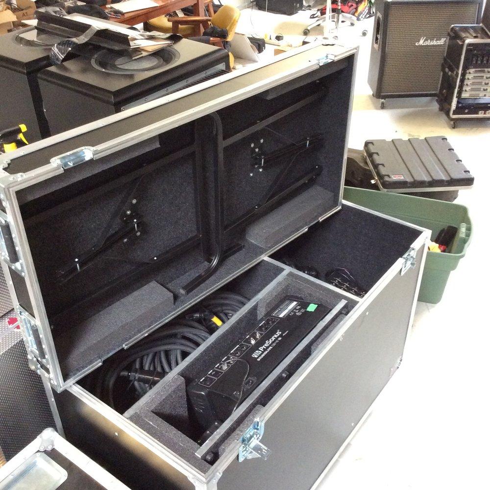 "Mixer, Table & Cable Storage Case  Make: Engineered Case Manufacturers  Dimensions: 47.25"" X 32"" X 23.25""  Notes: 6"" Castors"