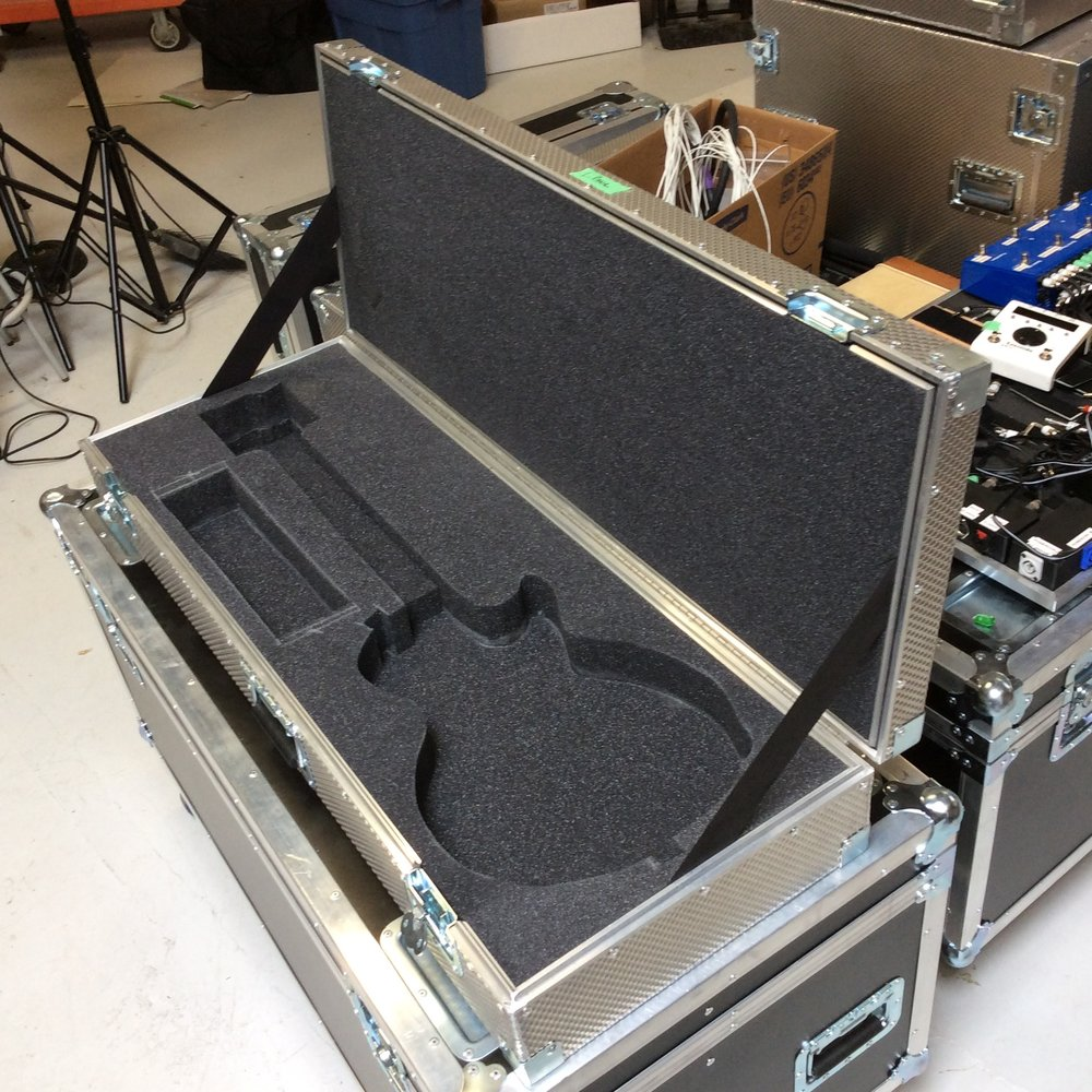 "Guitar Flight Case 4  Make: Engineered Case Manufacturers  Dimensions: 43"" X 16"" X 6.5""  Notes: Les Paul Foam Cutout"