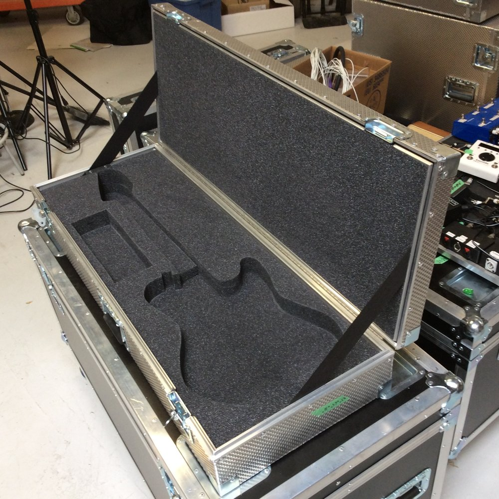 "Guitar Flight Case 3  Make: Engineered Case Manufacturers  Dimensions: 43"" X 16"" X 6.5""  Notes: Telecaster Foam Cutout"