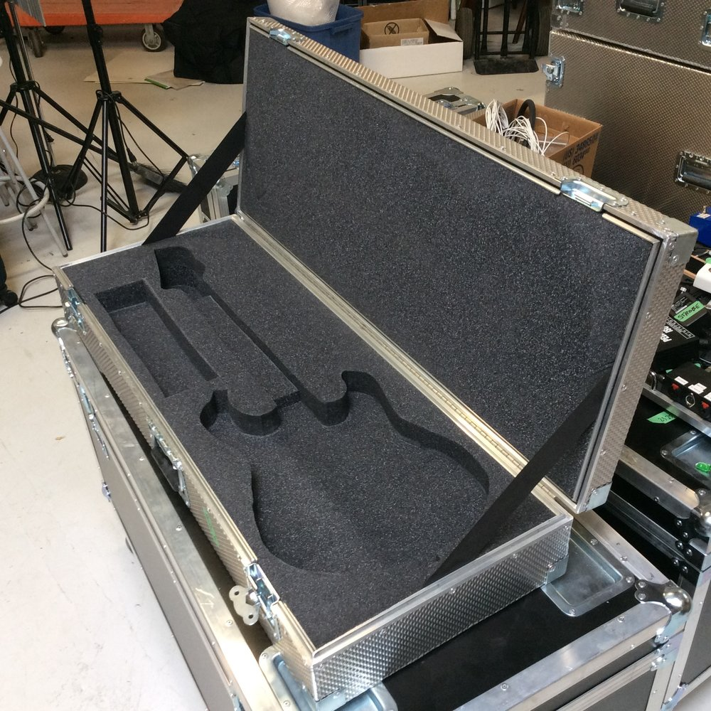 "Guitar Flight Case 2  Make: Engineered Case Manufacturers  Dimensions: 43"" X 16"" X 6.5""  Notes: Stratocaster Foam Cutout"