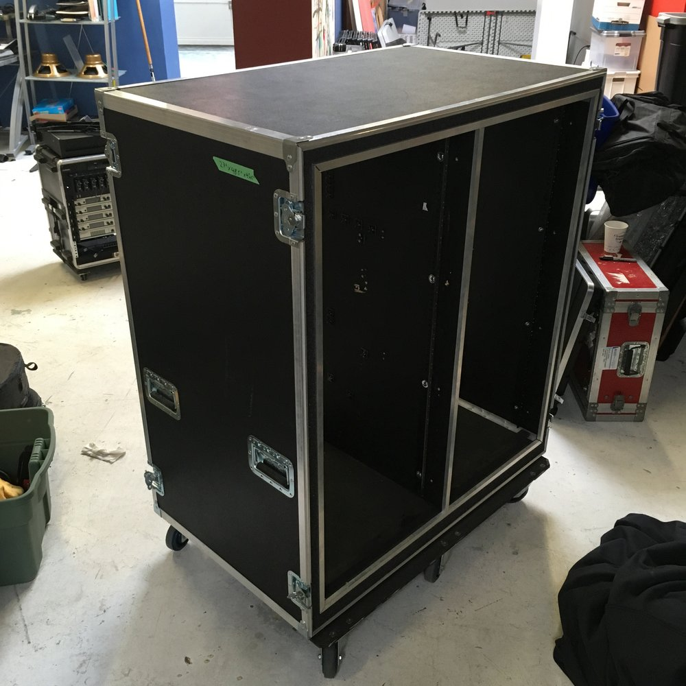 "Doubled Wide Rack Case  Make: Engineered Case Manufacturers  Dimensions: 48.5"" X 43.25"" X 27""  Notes: 6"" Castors"