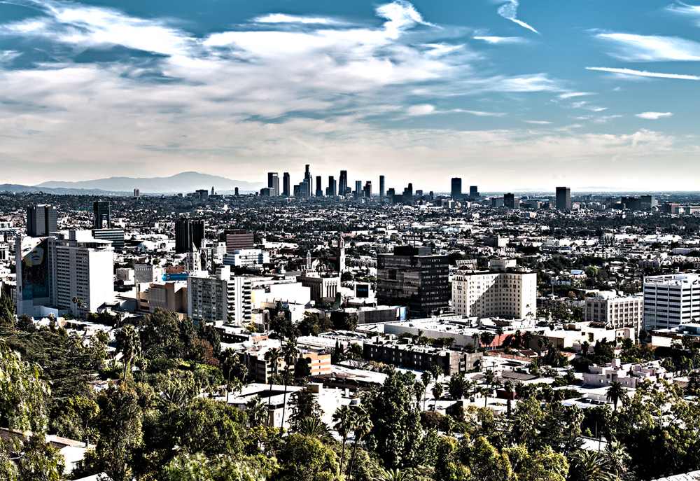 A view of Los Angeles from Griffith Park in the Hollywood Hills, Los Angeles, CA.