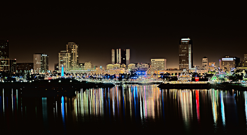 A view of Long Beach from the deck of the Queen Mary, Long Beach CA.