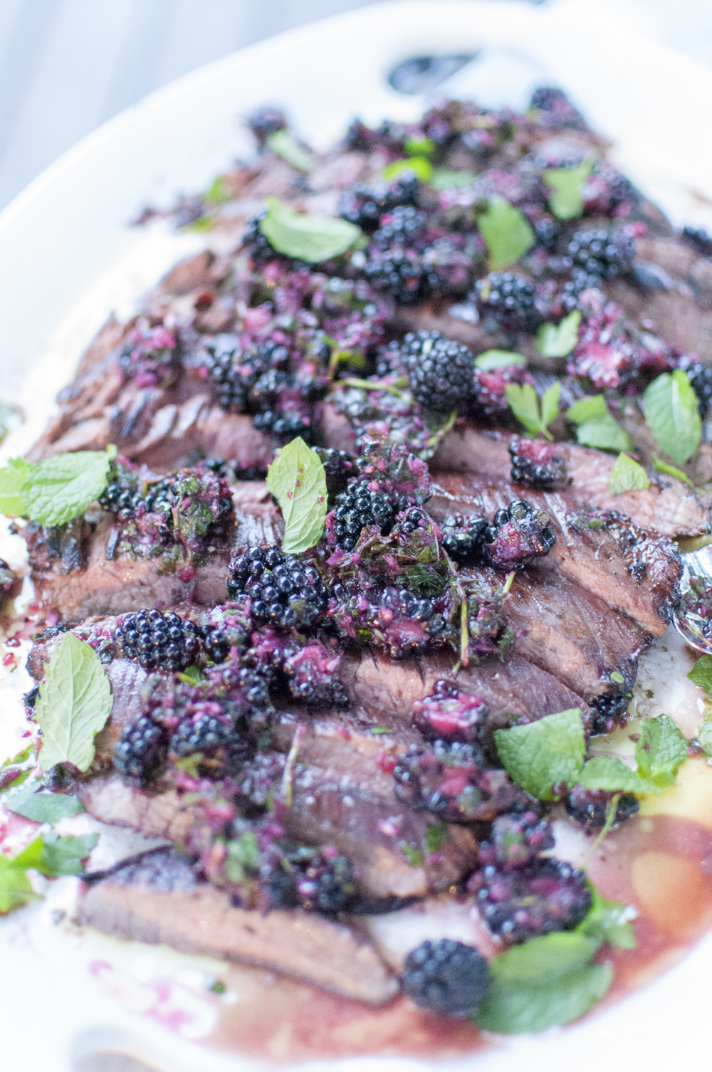 flank steak with blackberry chimichurri | kitchen lush