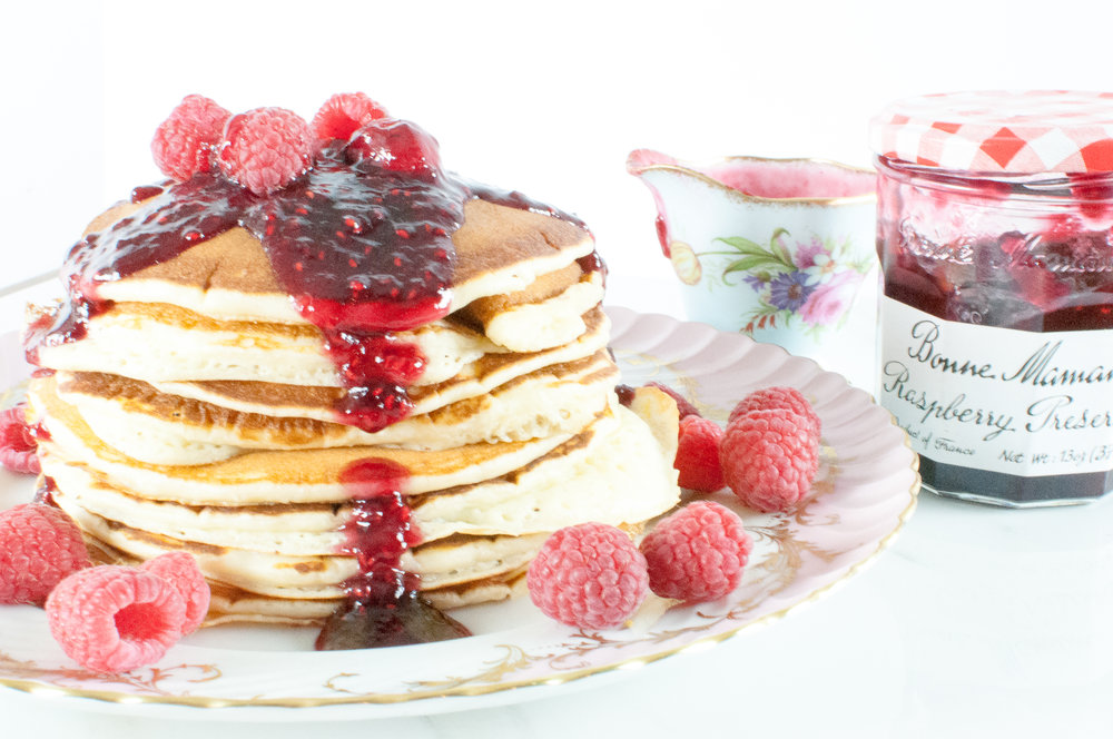 whipped lemon ricotta pancakes with raspberry preserves #SayItWithHomemade #BonneMaman | kitchen lush