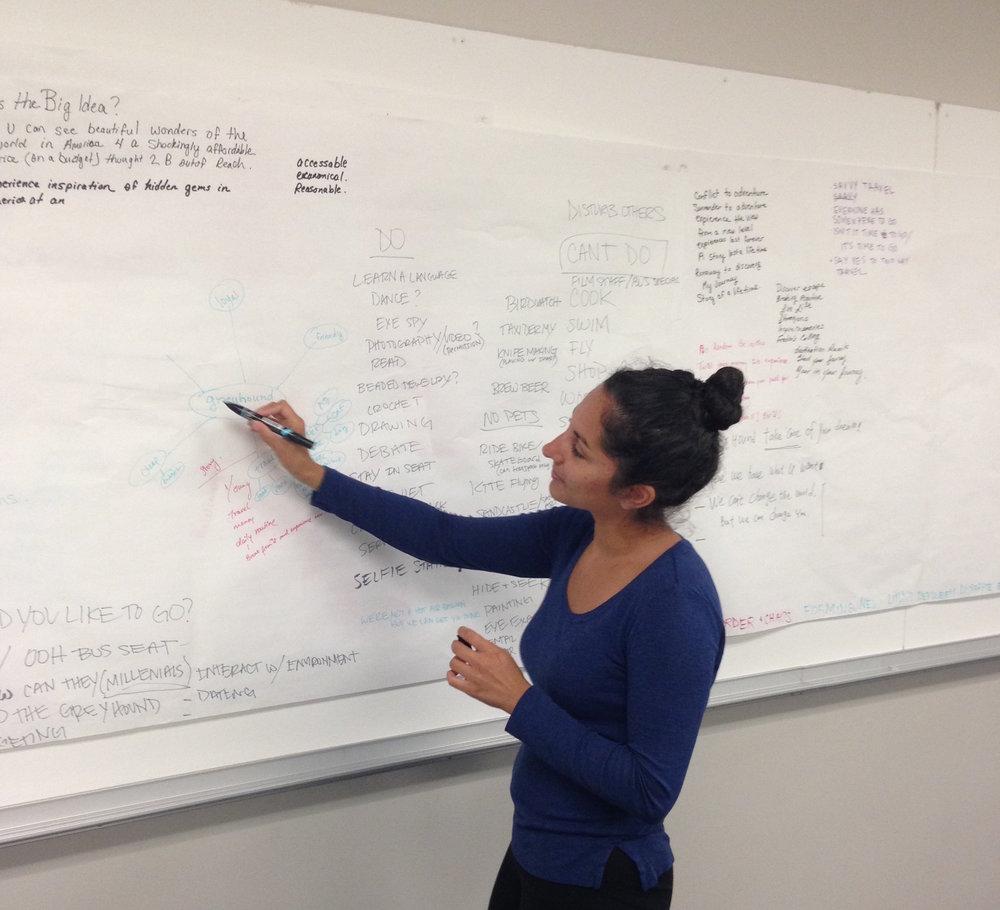 Yasmeen brainstorming.