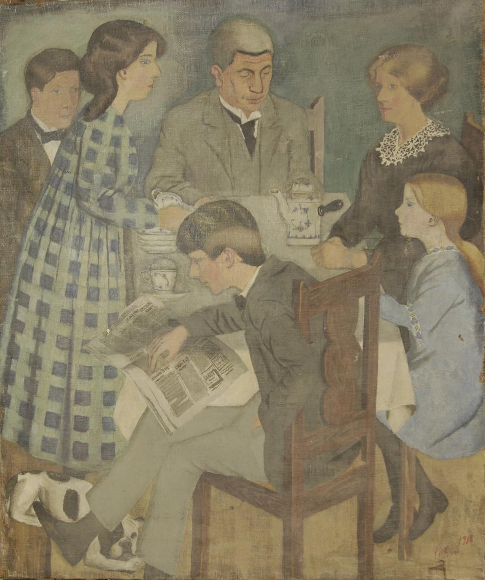 Cohn familien (1918). Med uret: Ludvig, Marie, Birgitte (Bitte), Gerson, Hunden Mulle, Thora (Dutte) og Benny