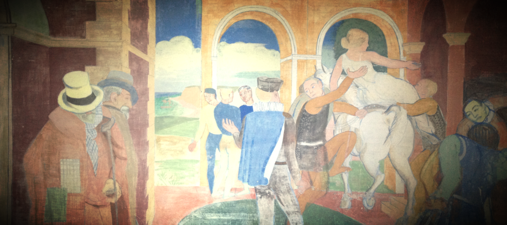 Painting on the wall at the family summerhouse in Hundested (1916)