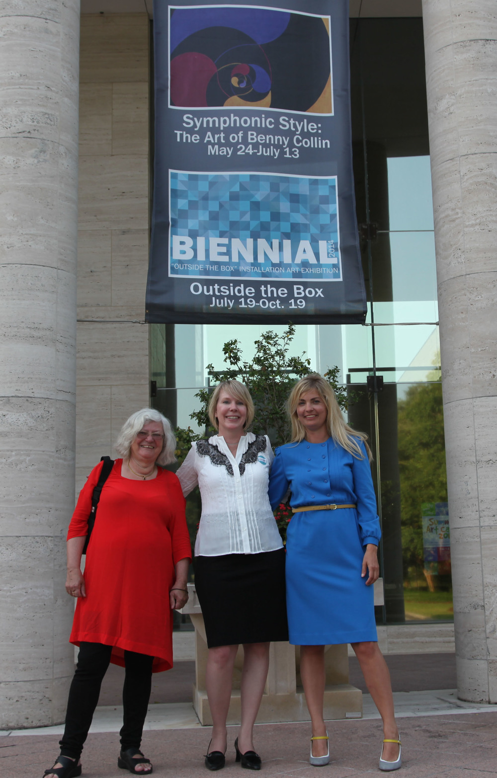 "Family reunion (2014). Eva, Vikki (Thora's grandchild) and Ditte in front of the Appleton Museum for the opening of the ""Benny Collin"" exhibition"