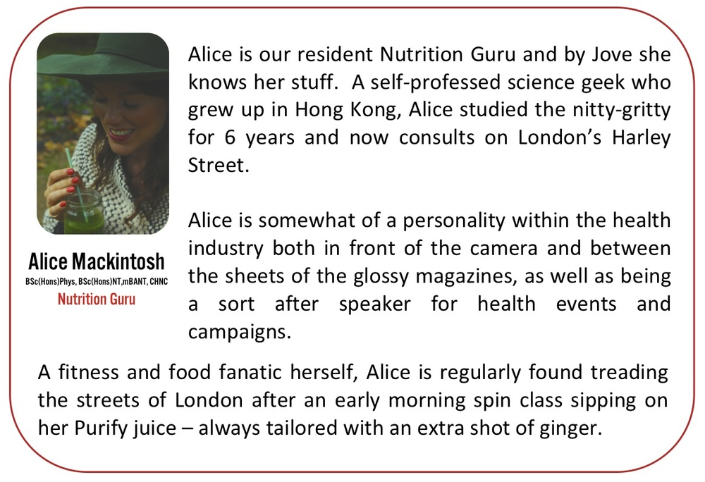 meet Alice Mackintosh our nutrition guru. highly experiences, knows her stuff. science geek, hong kong, london harley street. celeb health industry, camera glossy magazines, corporate events, presenting, early morning spin, sweaty , treading streets of london, favourite recovery juice Purify, catnap