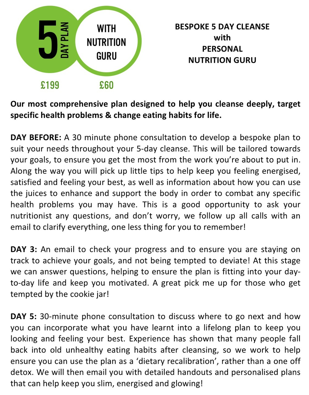 5 Day Plan With Nutrition
