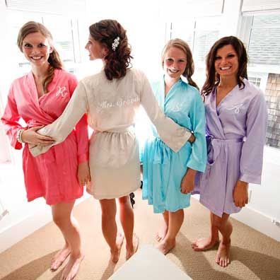 You can personalize these with the bridesmaids initials and they come in a variety of colors! These are also budget friendly!  S  hop  these robes now!