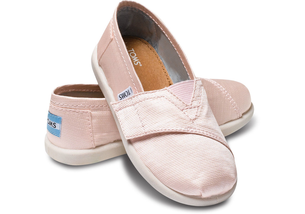 Pink petal grosgrain tiny TOMS flower girl shoe