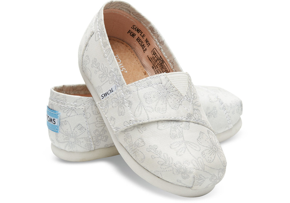 Ivory silver jacquard tiny TOMS flower girl shoe