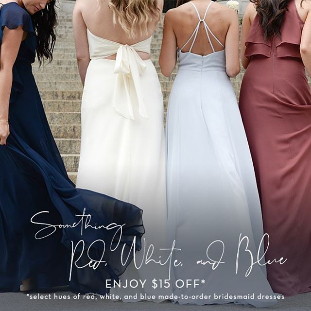 Celebrate Independence Day all month with this fab July @jennyyoonyc promo! Hues of Red, White, and Blue are $15 off! Book your appointment with our link in bio☝🏻#jennyyoonyc . . . Offer valid for new parties only, orders must be placed by July 29th, DM us for details! . . . #bridesmaids #bridesmaid #614bride #614 #columbusohio #ohiobride #columbusbride #cbusweddings #columbusweddings #bridetribe #shoplocal #engaged #isaidyes #columbusalive #expcols #asseenincolumbus #gildedtribe #gildedsocial #goingtothechapel #reddress #bluedress #whitedress #littlewhitedress #jennyyoo #navydress #redwhiteandblue #independenceday #sale #discount