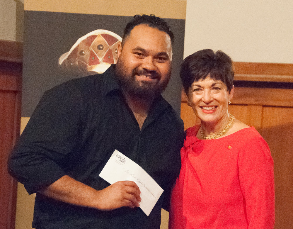 "The Governor General, Her Excellency The Rt Hon Dame Pasty Reddy and Manase Latu receiving ""The Merle Higgie Opera Prize for Potential"""