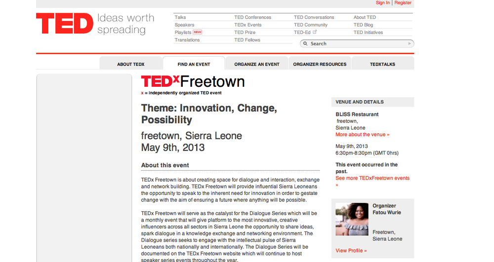 Organizer of TEDxFREETOWN -