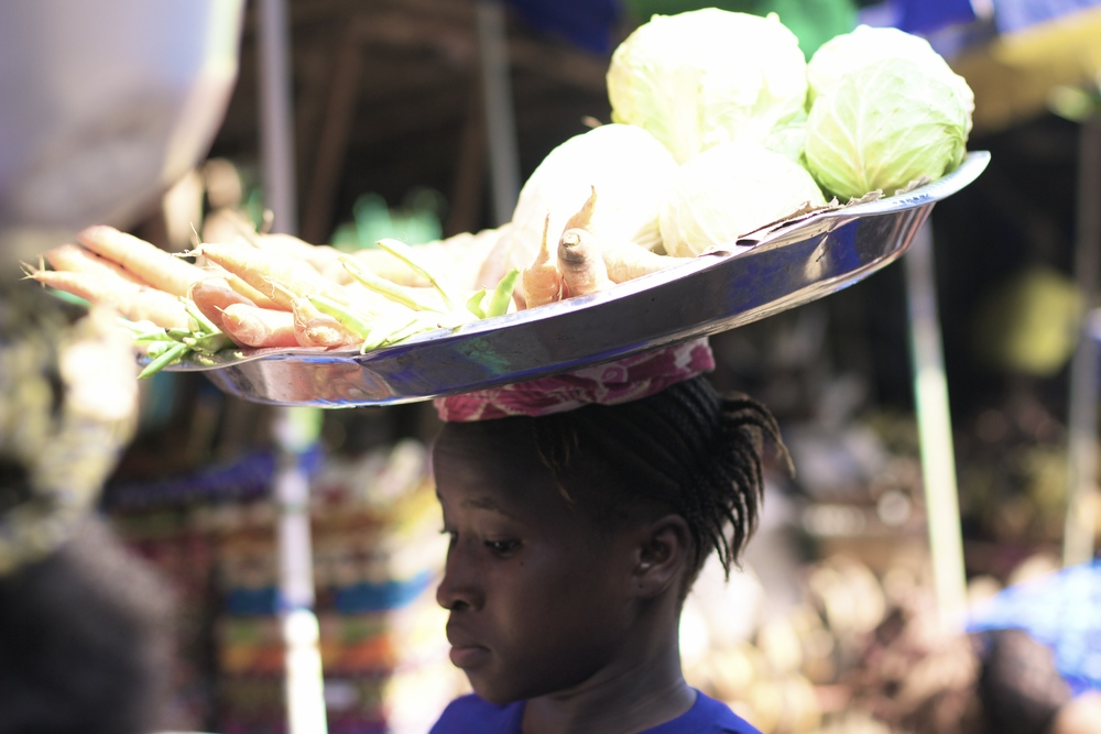 Market Girl selling on Christmas Eve, Freetown
