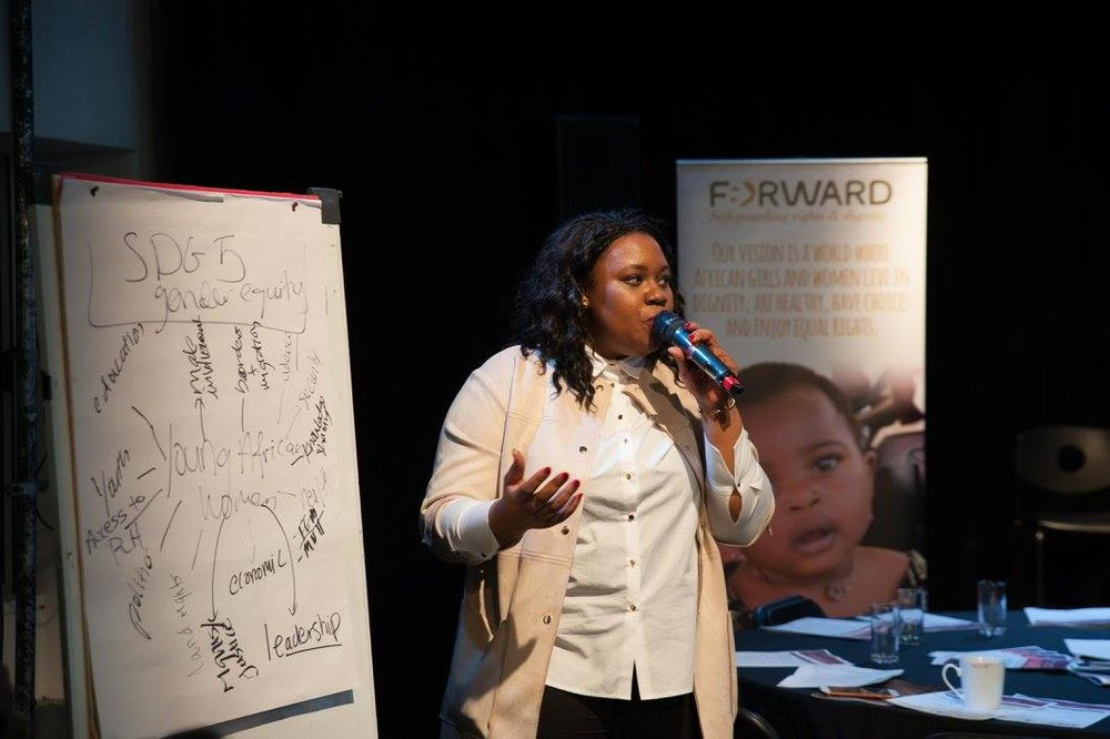 Leading a working session on 'Engaging Young Women on Gender, Rights and Development' ©FORWARD — at Rich Mix London. 2016