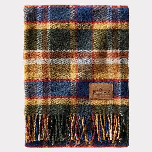 31f3f13a5a Pendleton National Park Wool Motor Robe Blanket Badlands Olive Army Greed Plaid 2.jpg
