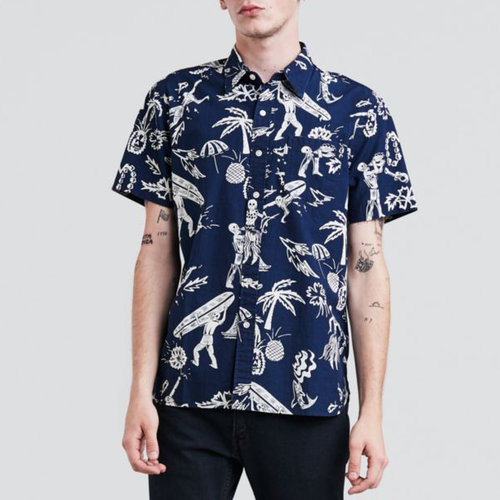 4218d7ab9 Levi's Premium Short Sleeve 1 Pocket Shirt in Tanager Indigo.  Levis_Premium_Short_Sleeve_1_Pocket_Shirt_Tanager_Indigo_Skeleton_Hawaiian_658260135_1.jpg