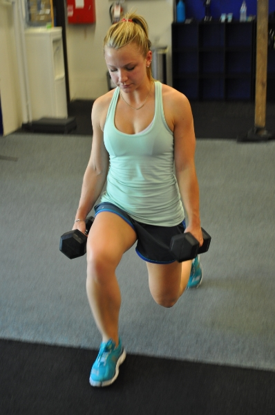 Dumbbell lunge for lower body strength