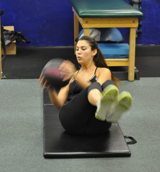 Medicine ball Russian twist core exercise