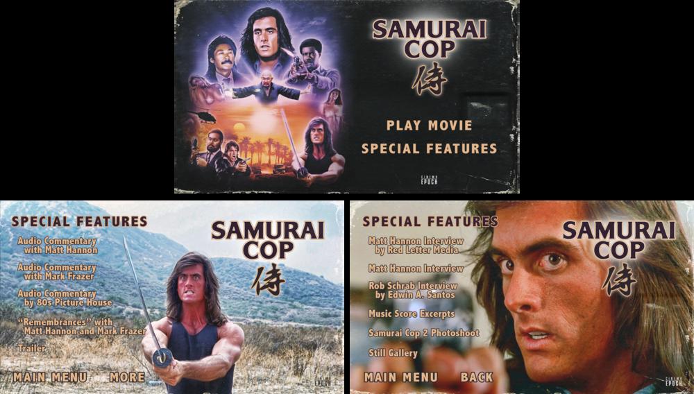 Samurai Cop Menu