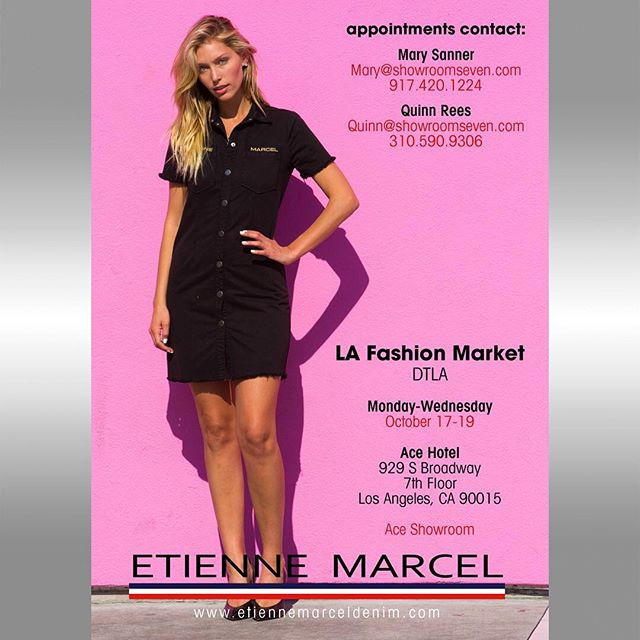 Flyer for @etiennemarceldenim. Drop by and say hi to them at the LA Fashion Market at the Ace Hotel in DTLA, today through Weds!⠀ • • •⠀ - Graphic Design