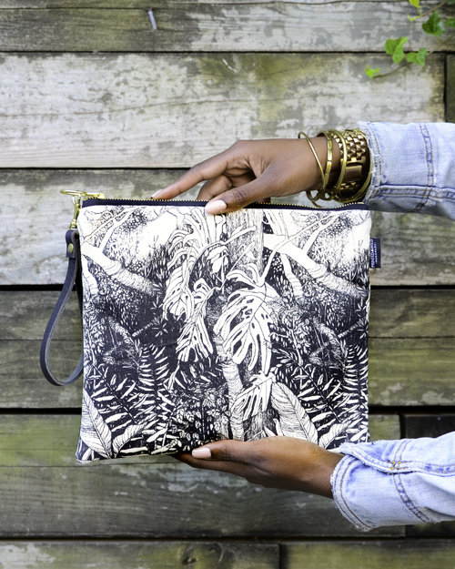 Printed Wild - Large Foldover Clutch