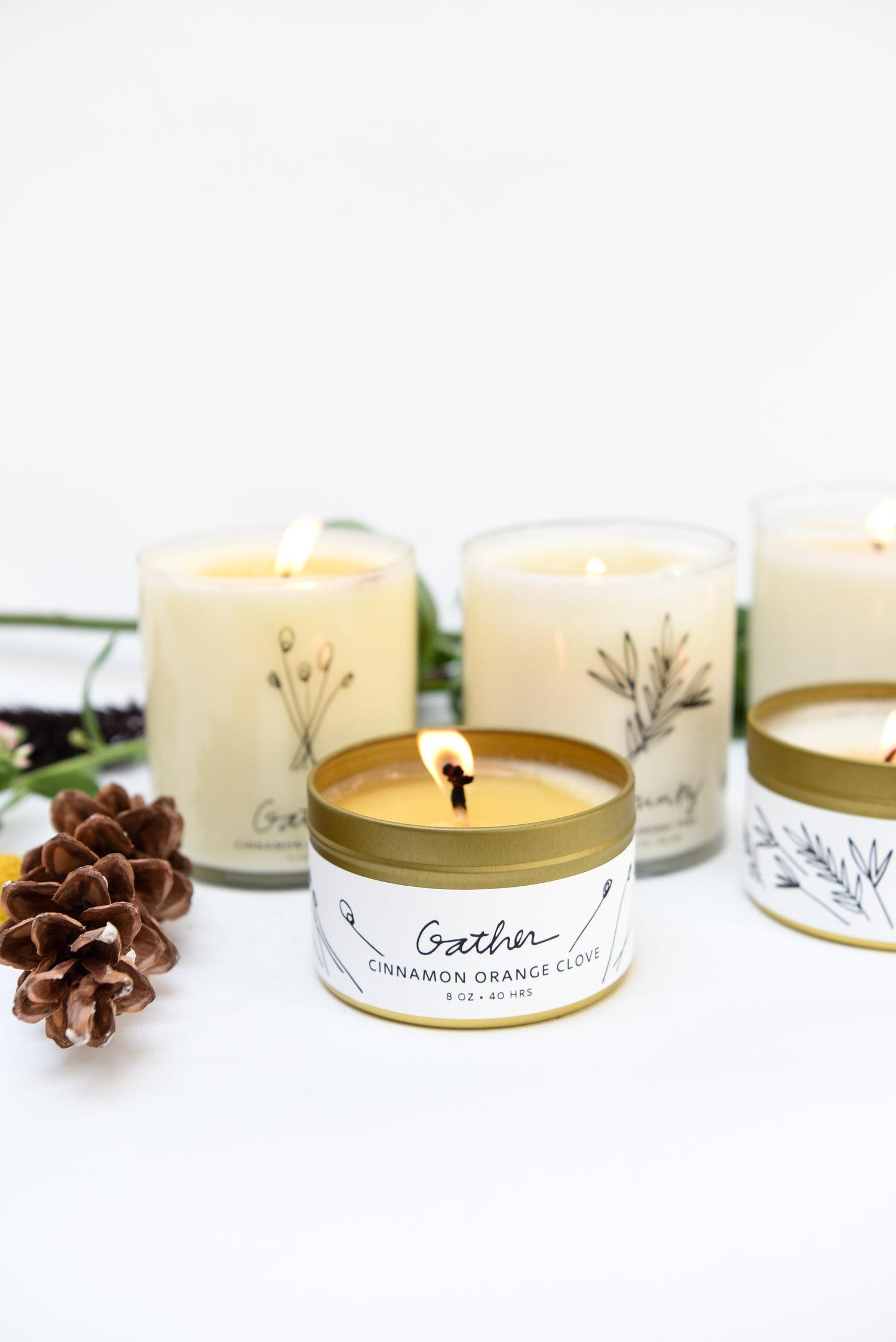 Handmade Habitat Gather Soy Candle Tin Cinnamon Orange Clove Natural Wax Scented Candles Vanilla