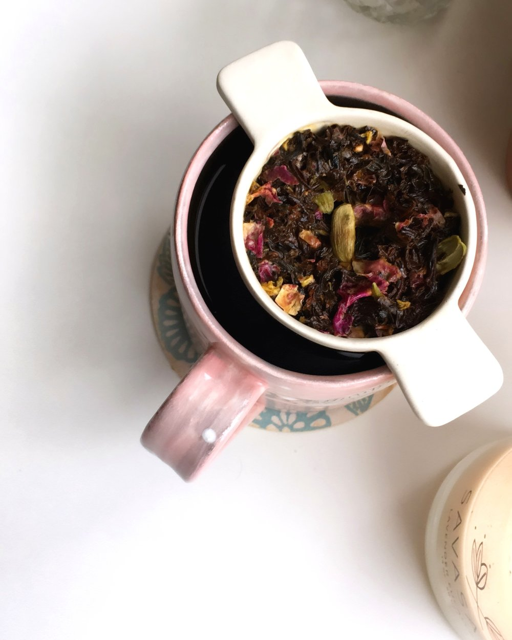 Shafa Blends Persian Rose Tea   tea strainer via  Herriott Grace , mug by  Julia Walther