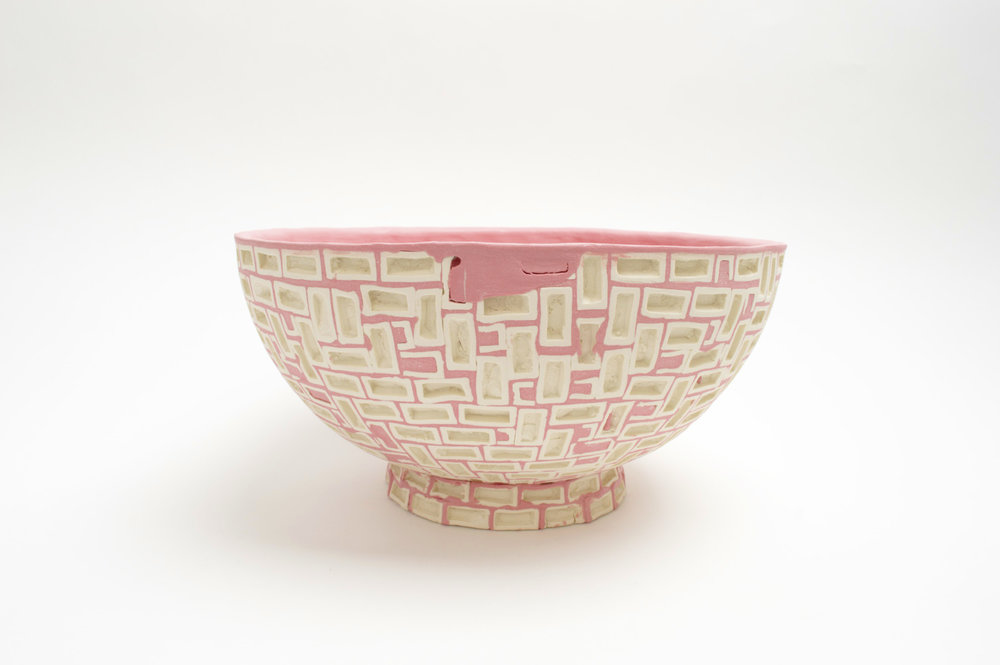 Mini-Brickware Bowl (Pink & White)