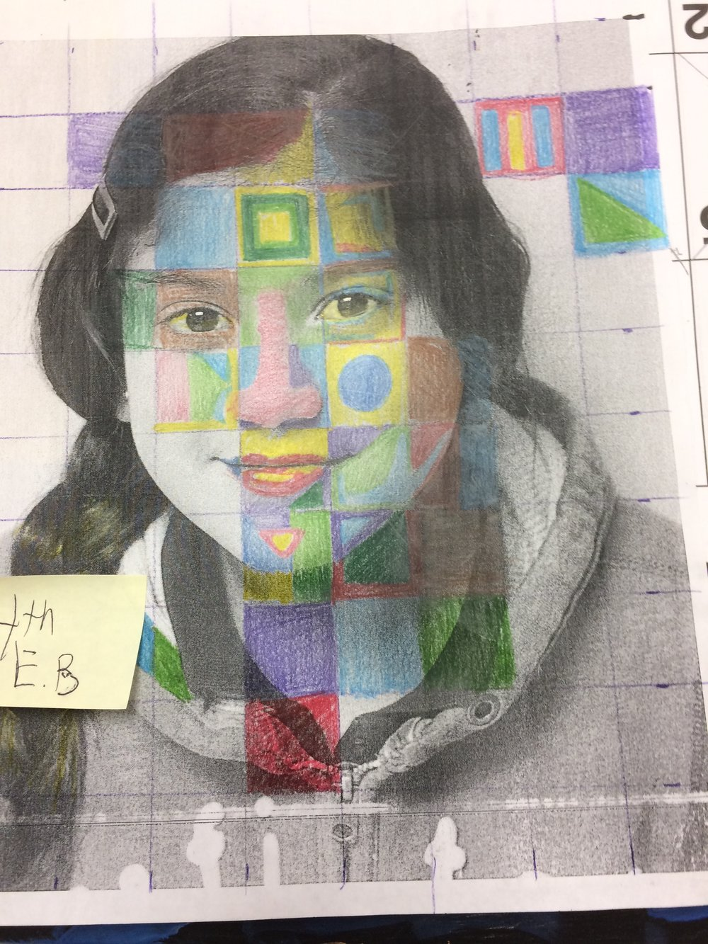 Fourth and Fifth Grade portrait works focus students on analyzing and seeing oneself as an artist.