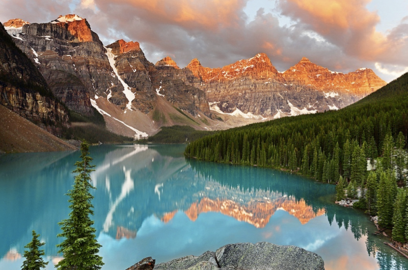 Glacial Lake Moraine in the mountains of Canada