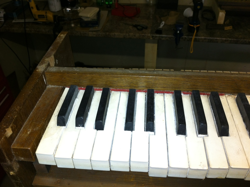 The keys were stuck together with white fuzz from dampness