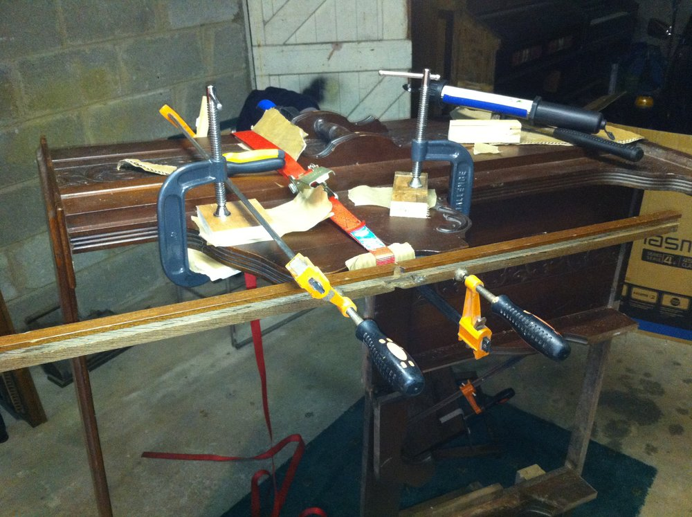 The front of the case glued and clamped