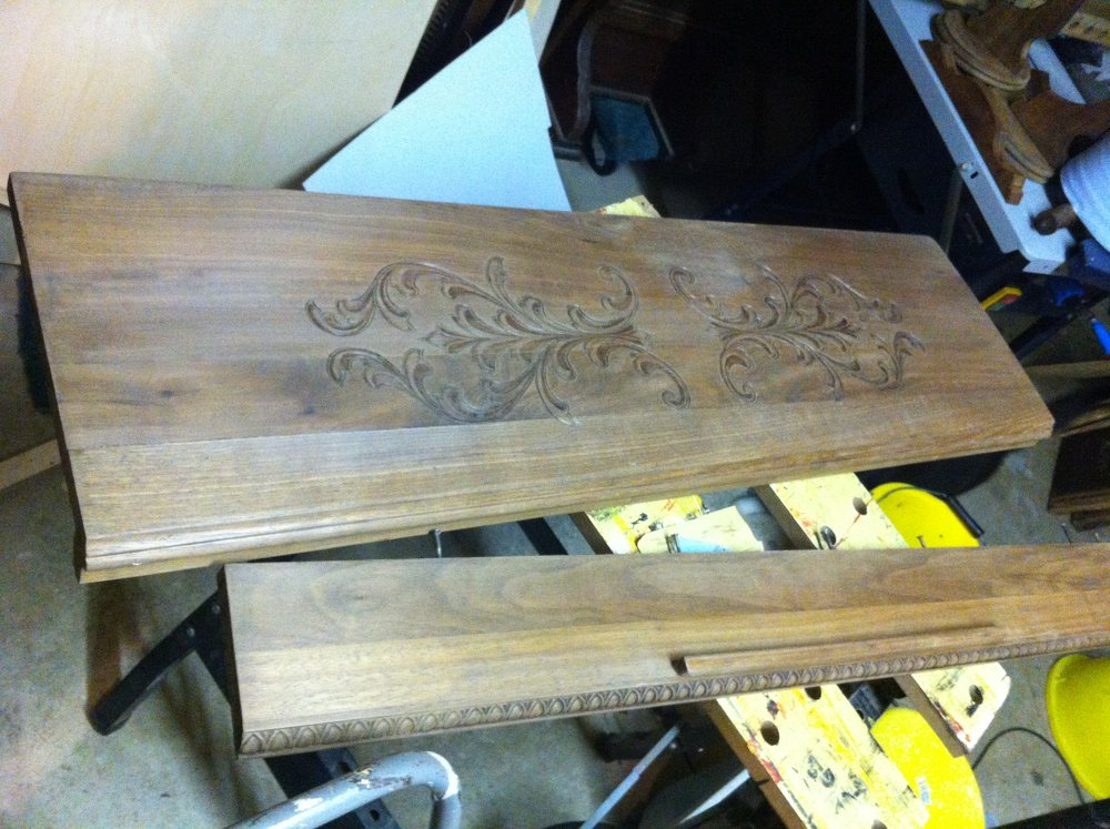 The lid and part of the music desk ready for stain